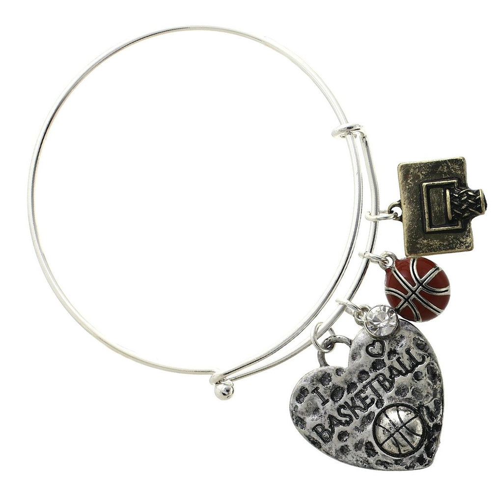 Silver tone Basketball Bangle Charm Bracelet