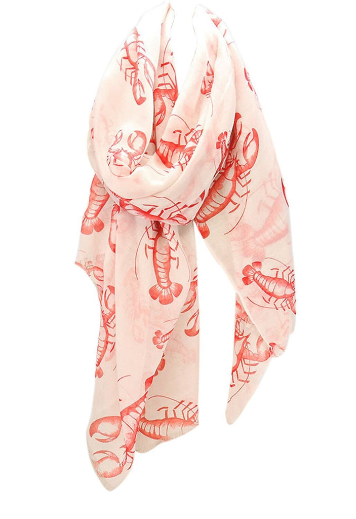 Light Weight Oblong Scarf Coral Red and White Lobster Print