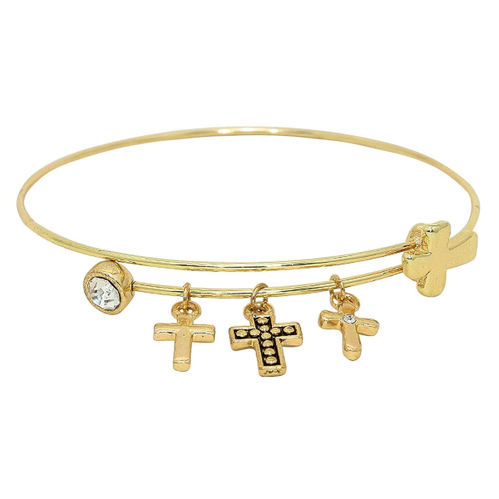 Cross Dangle Charms Adjustable Wire Bangle Bracelet Gold Tone