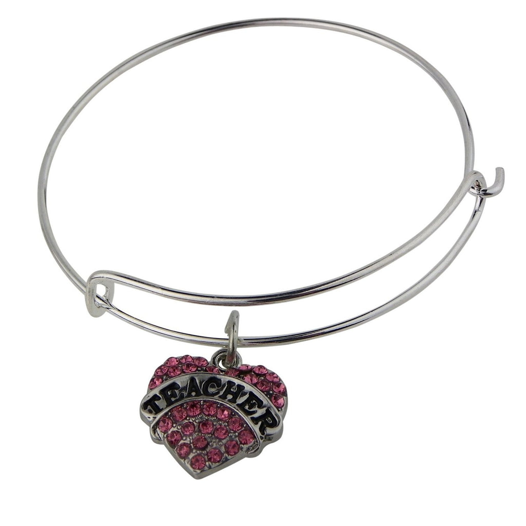 Teacher Pink Heart Charm Wire Bangle Bracelet Silver Color