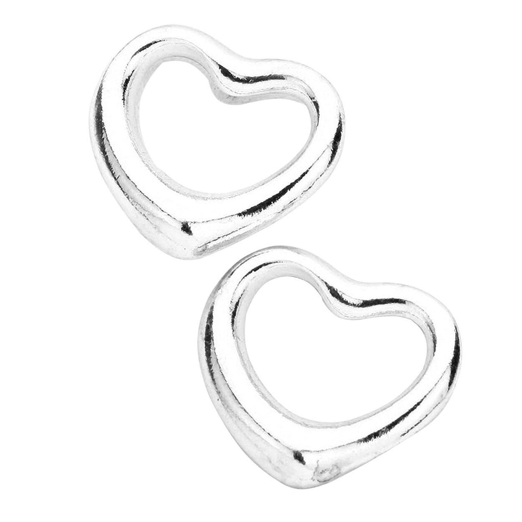 Valentine Cut Out Heart Stud Earrings Silver Tone