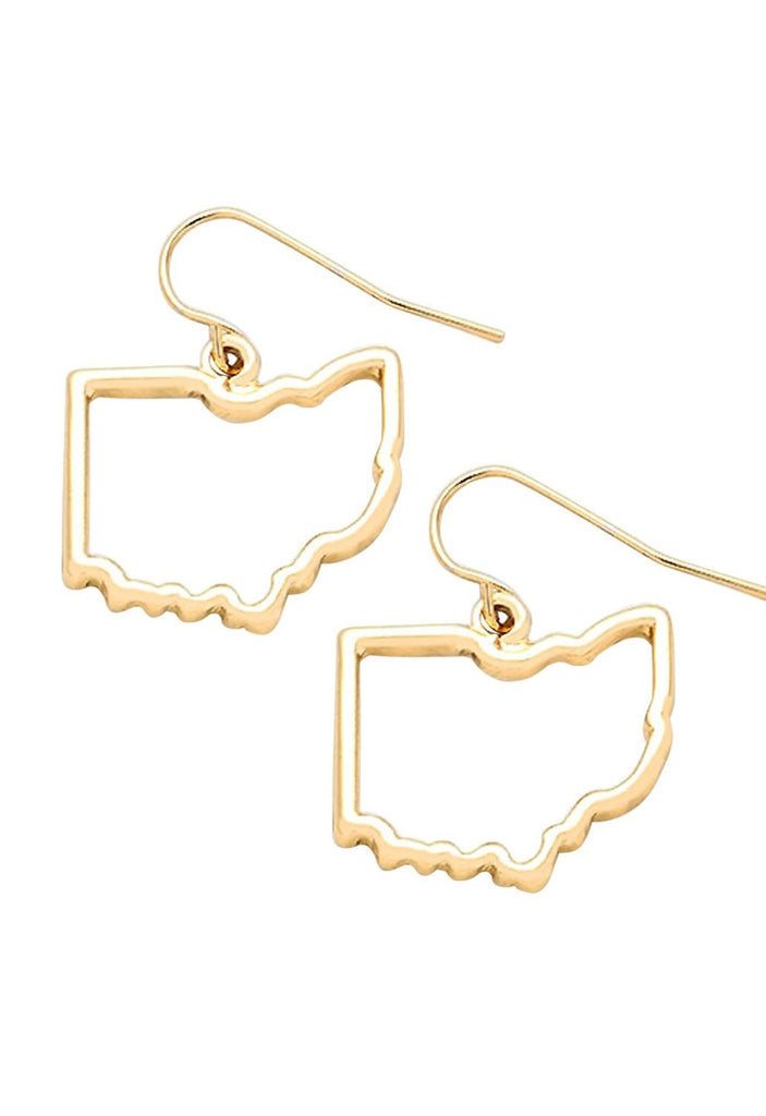 Ohio State Outline Gold Tone Earrings