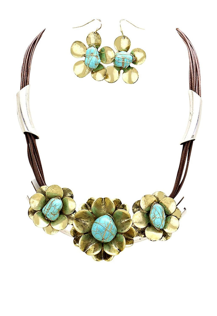Flower Cluster Statement Bib Necklace and Earrings Jewelry Set