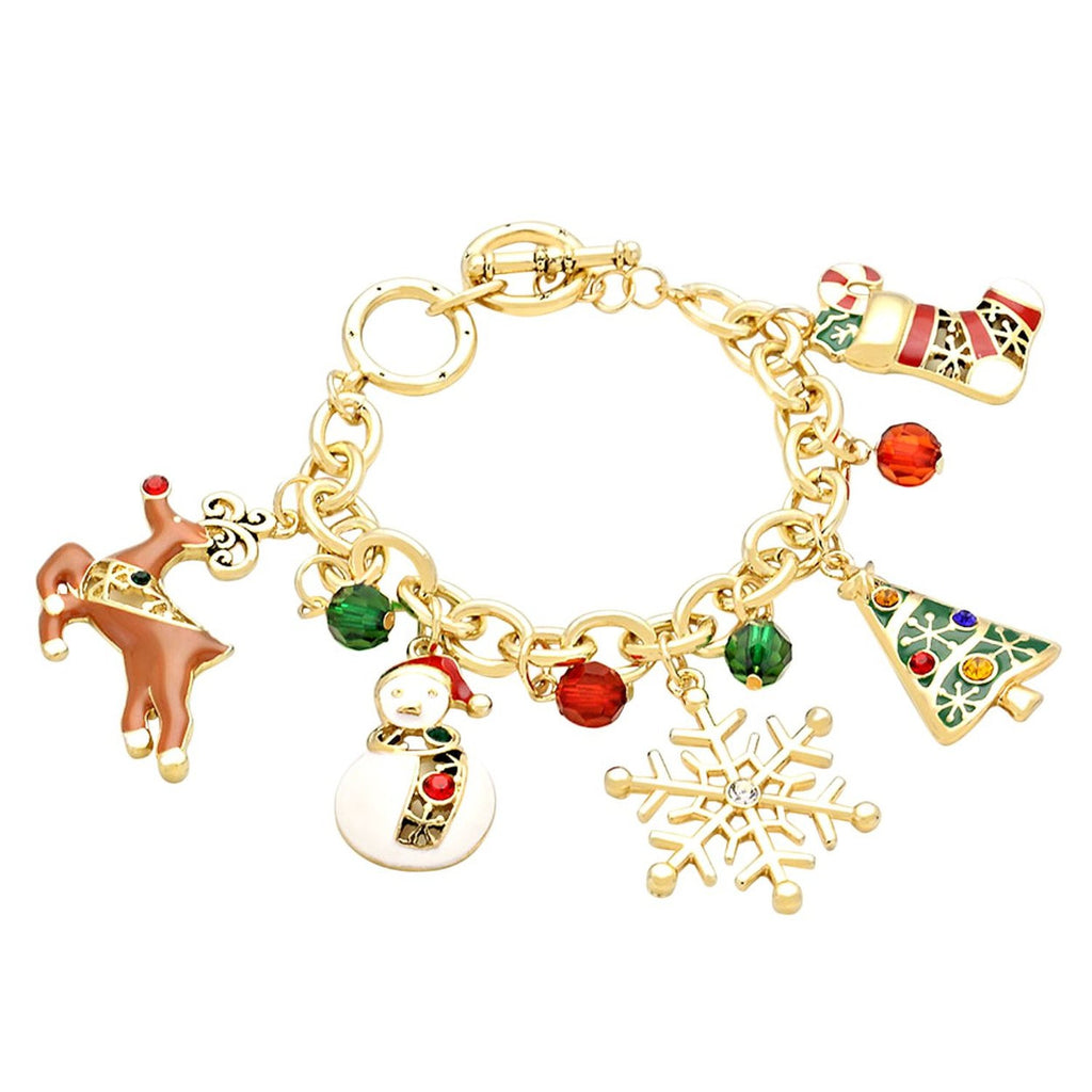 Christmas Adjustable Link Chain Dangle Charm Bracelet Gold Tone