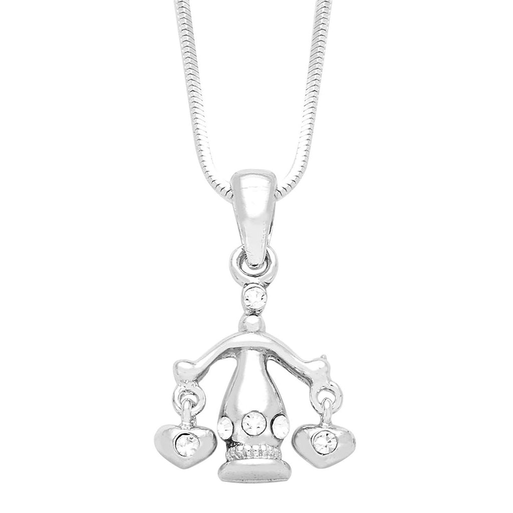 Necklace-Libra Pendant -Silver Tone with Crystal Accent