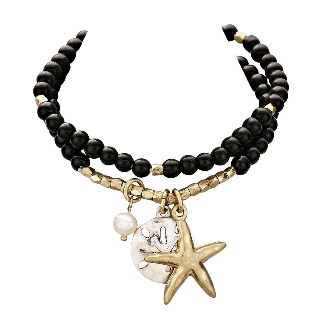 Starfish Sand Dollar Charm Beaded Stretch Bracelet Black