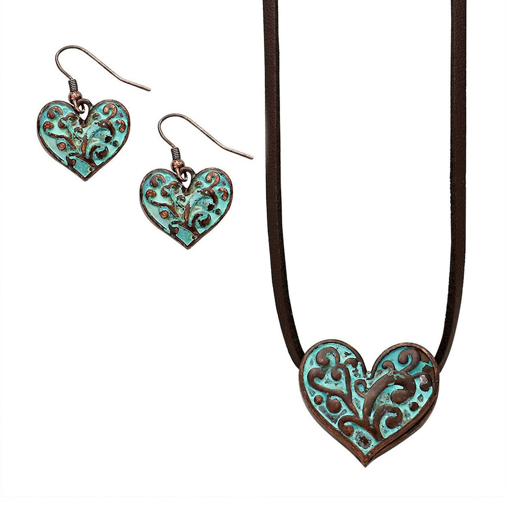Patina Filigree Heart Suede Leather Necklace and Earrings Set