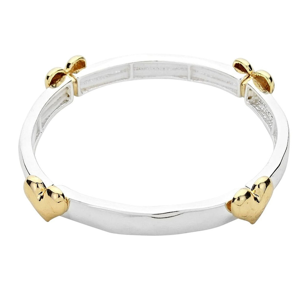 Heart Accented Stretch Bangle Bracelet Two Tone