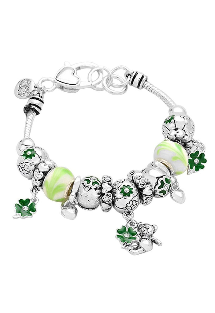 Irish Bear Shamrock Beaded Charm Bracelet Green Silver Tone