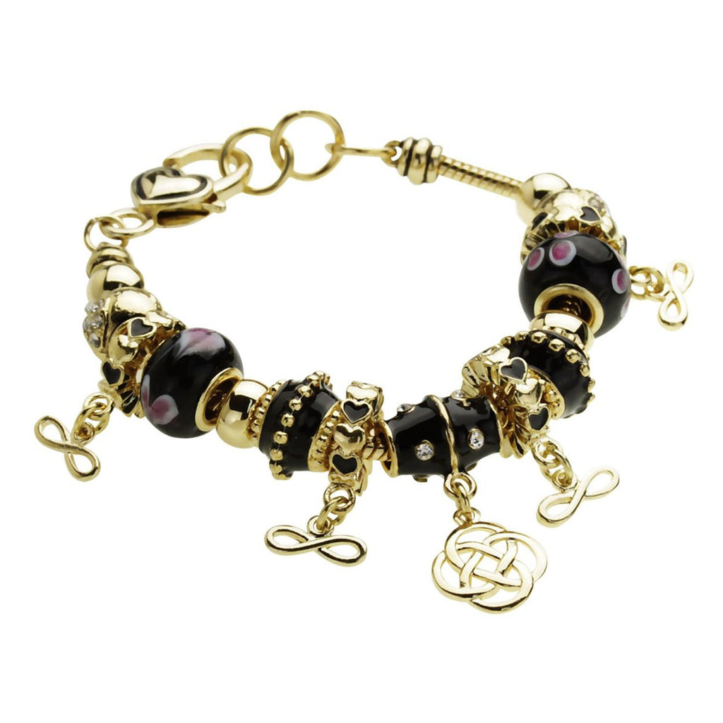 Celtic Knot Infinity Black and Gold Beaded Charm Bracelet Gold Tone Color