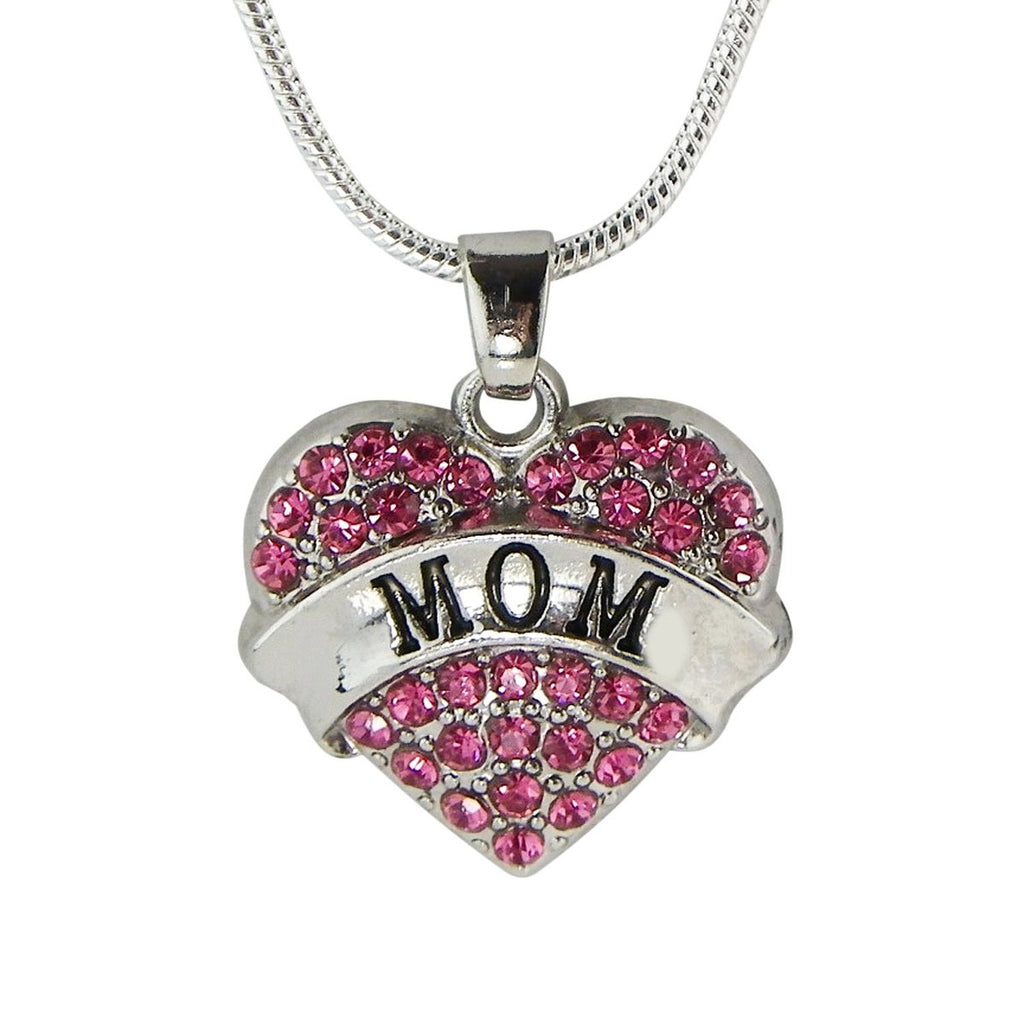 Mom Pink Crystal Heart Necklace