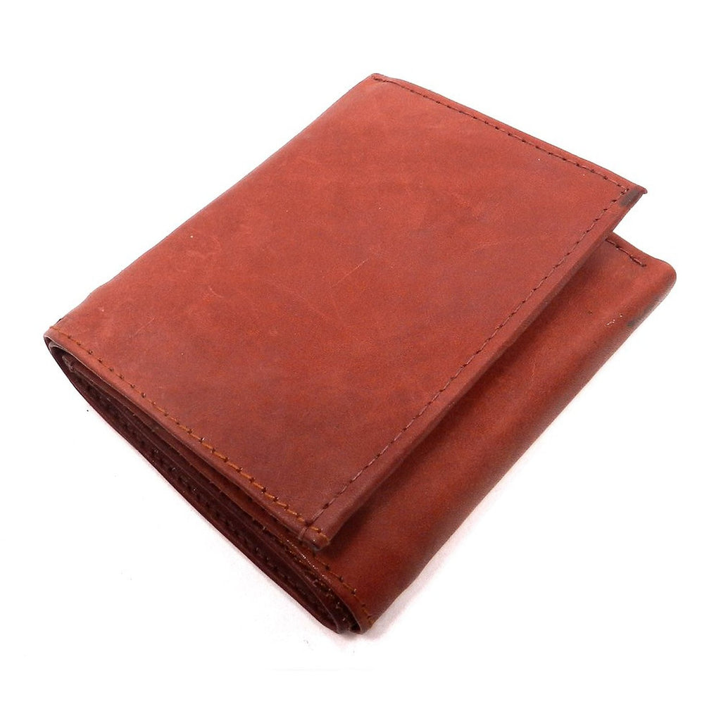 Mens Tri Fold Brown Leather Wallet