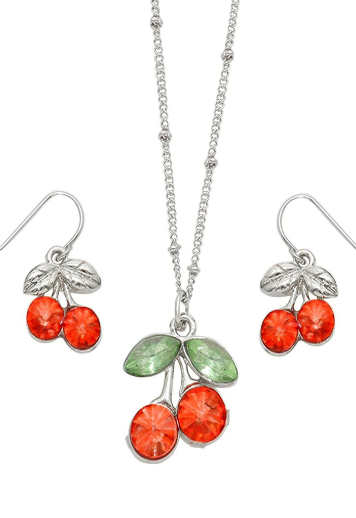 Crystal Cherry Pendant Necklace and Earrings Set