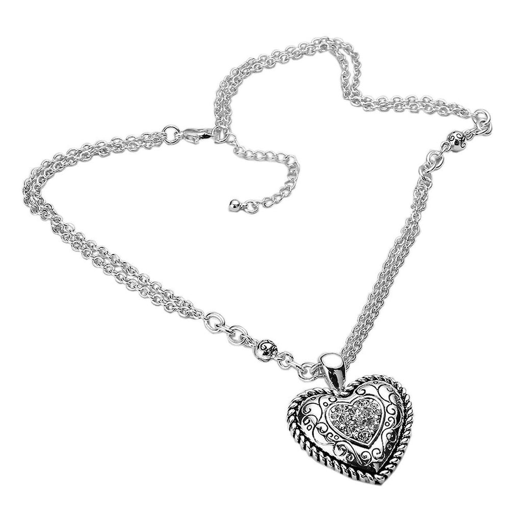 Silver Tone Heart Pendant Necklace and Earring Set