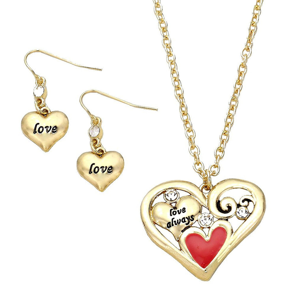 Love Heart Pendant Necklace Gold Tone