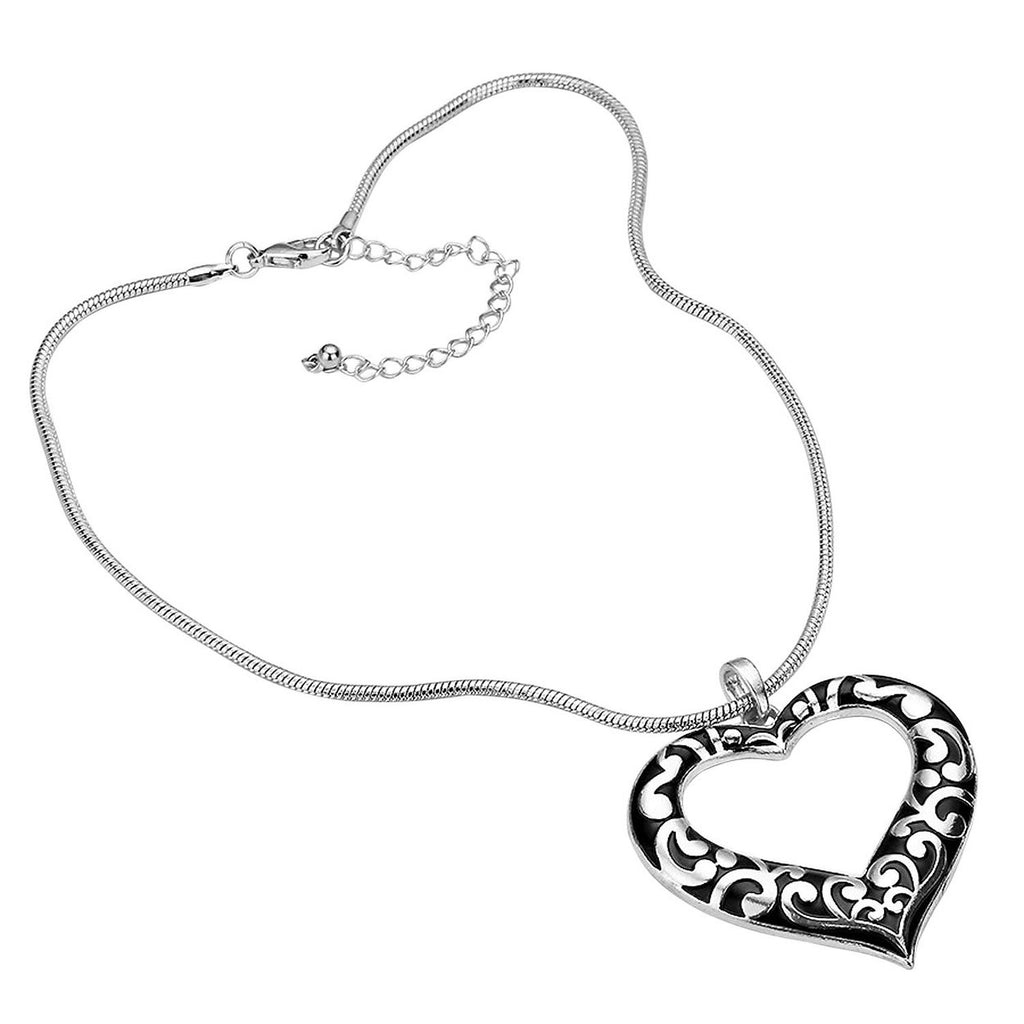 Stunning Silver Color Open Heart Necklace Earring Gift Set