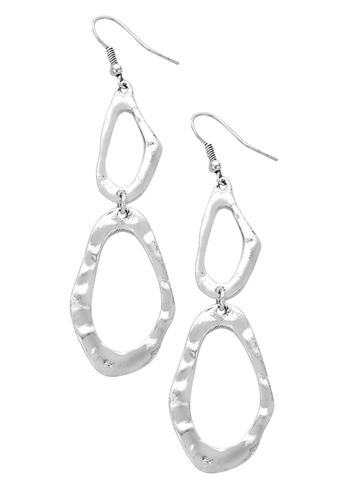 Geo Hammered Metal Hoop Double Drop Earrings Burnished Silver Color