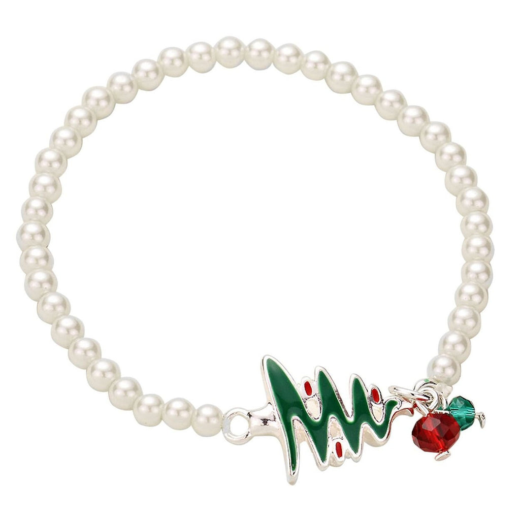 Stretch Beaded Bracelet-Pearl with Christmas Tree Faux