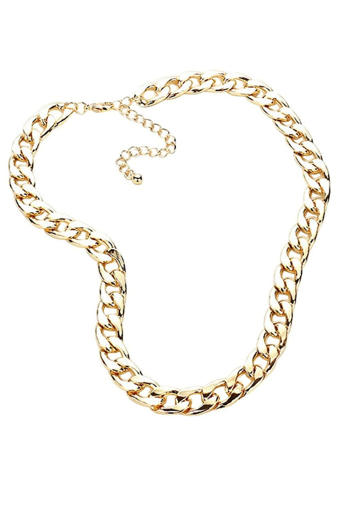 Curb Chain Necklace and Earrings Set Gold Tone