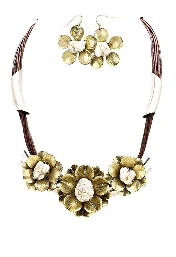 Statement Bib Necklace Flower Cluster Multi Tone White Color