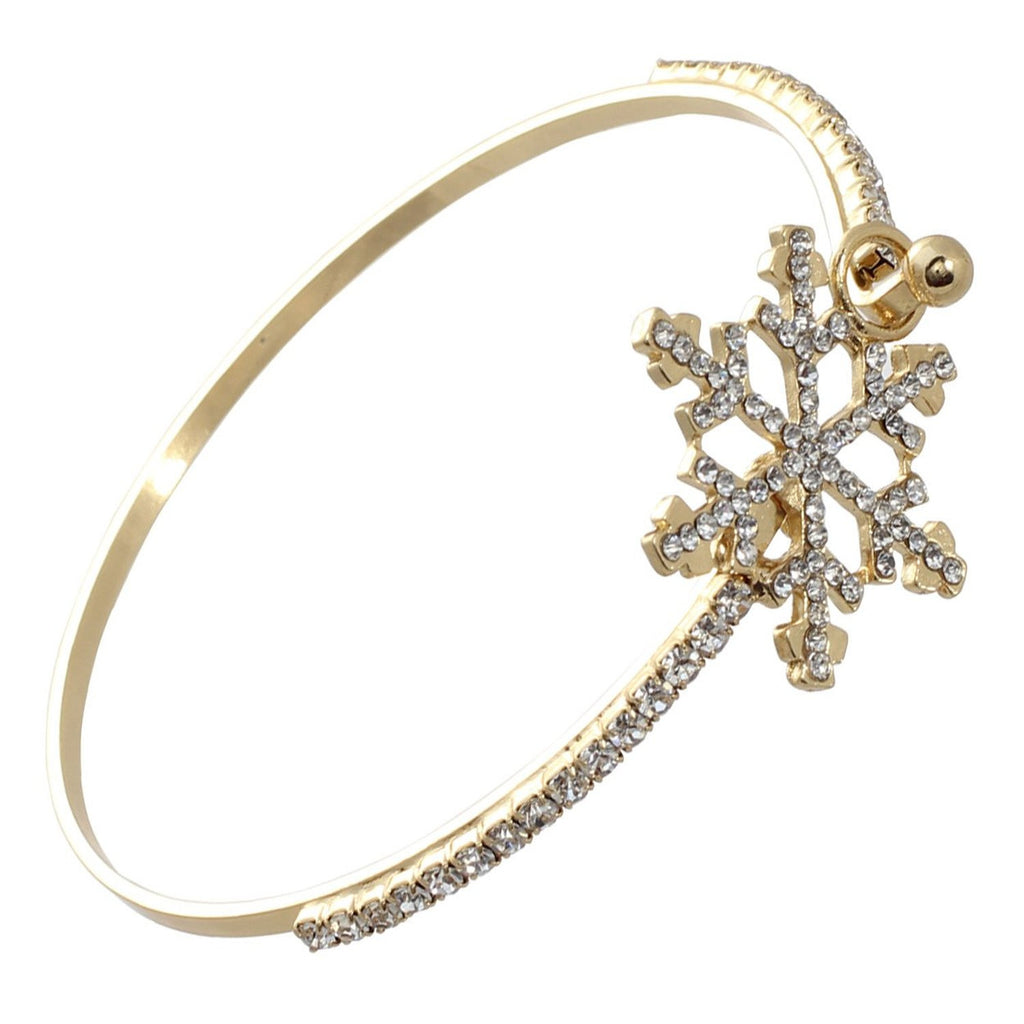 Winter Snowflake Rhinestone Accent Bangle Bracelet Gold Color