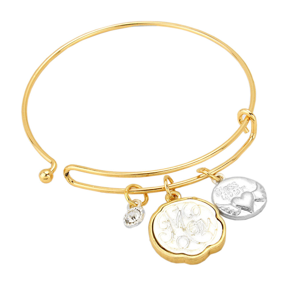 Bless Your Heart Mom Gold Wire Bangle Charm Bracelet