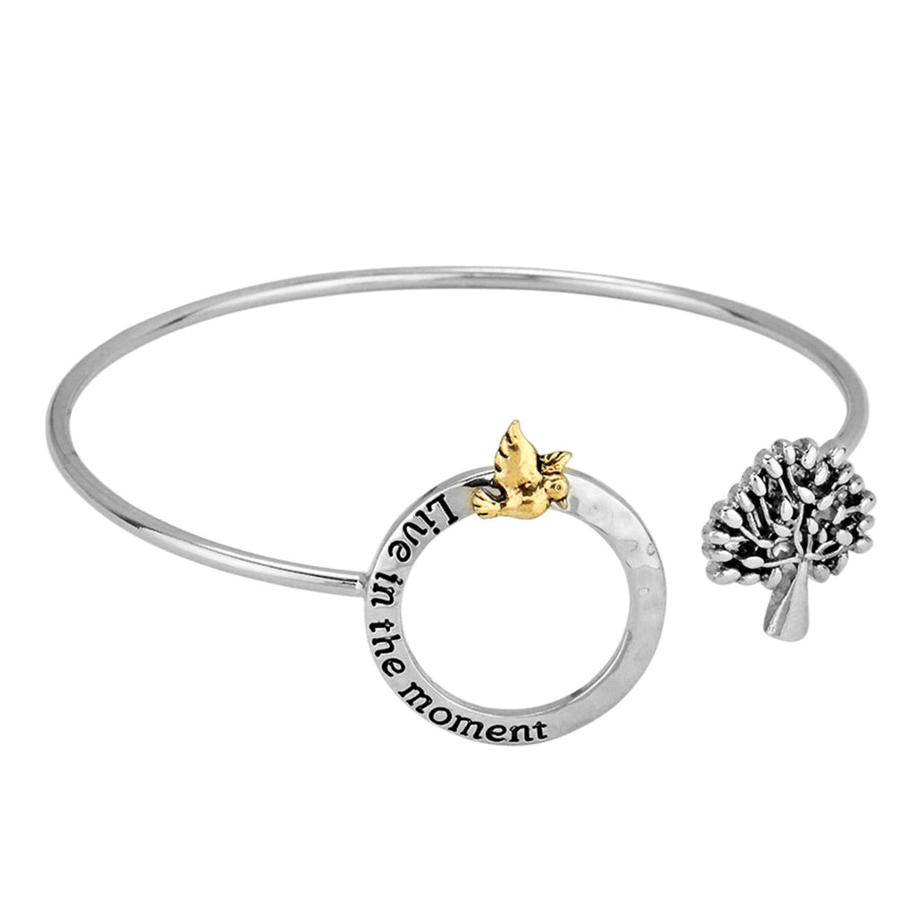 Live In The Moment Bird In Tree Bangle Bracelet
