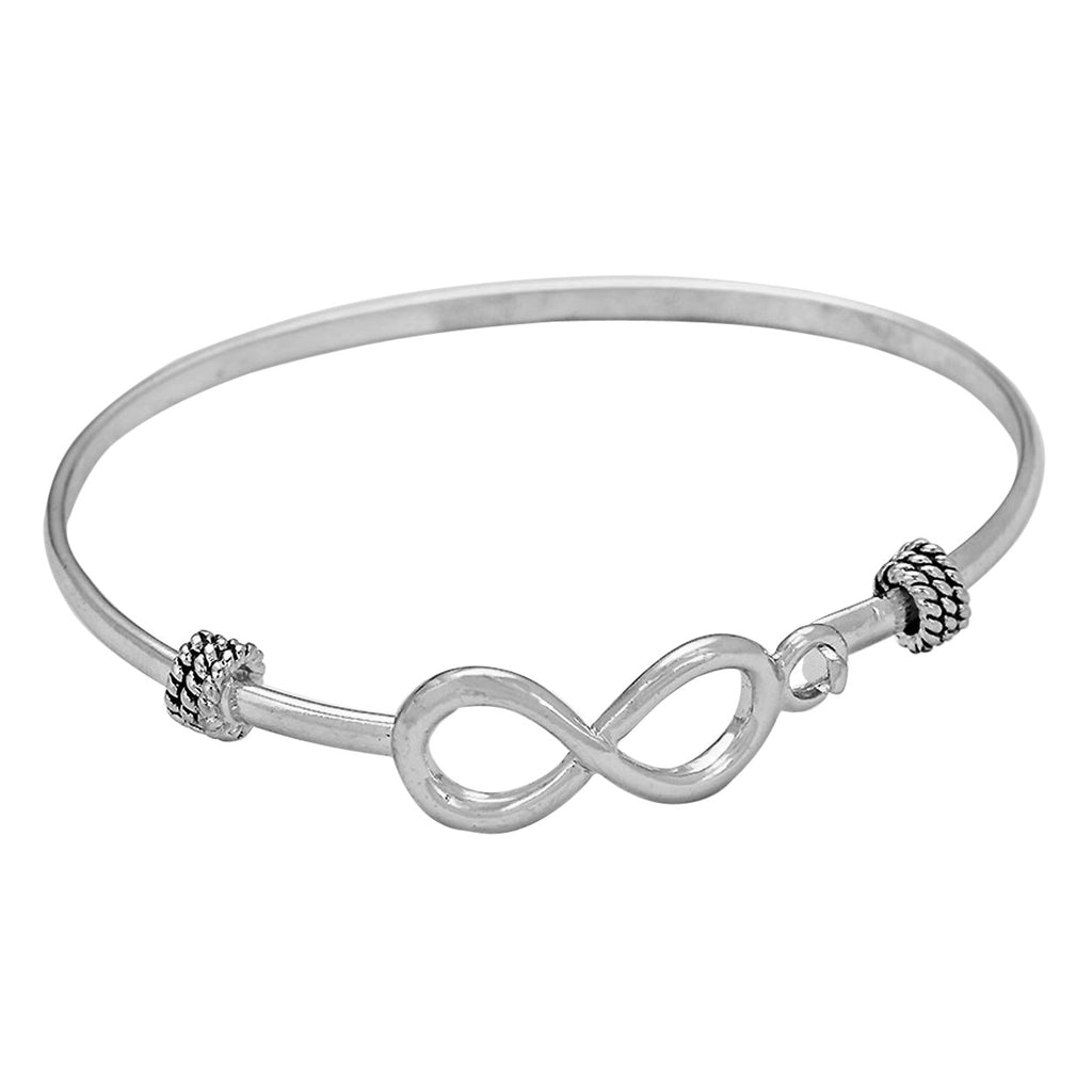 Infinity Charm Hook Wire Bangle Bracelet in Silver Color