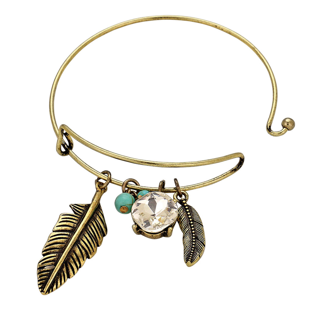 Feather Bangle Bracelet Cut Crystal and Turquoise Color Beads Gold Color