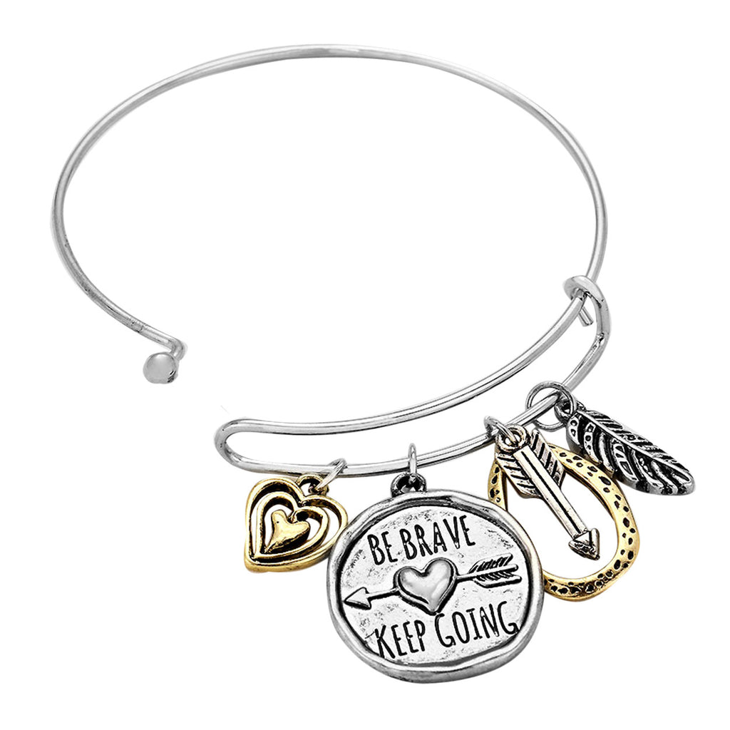 Be Brave Keep Going Love Heart Bangle Bracelet
