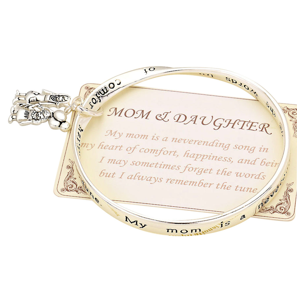 "Mom and Daughter Twist Bangle Bracelet ""Mother's Song"""