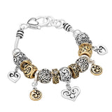 Antique Silver and Gold Italian Filigree Heart Charm Bracelet