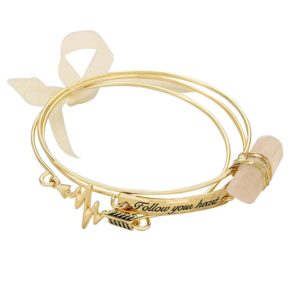 Follow Your Heart Triple Bangle Bracelet Set