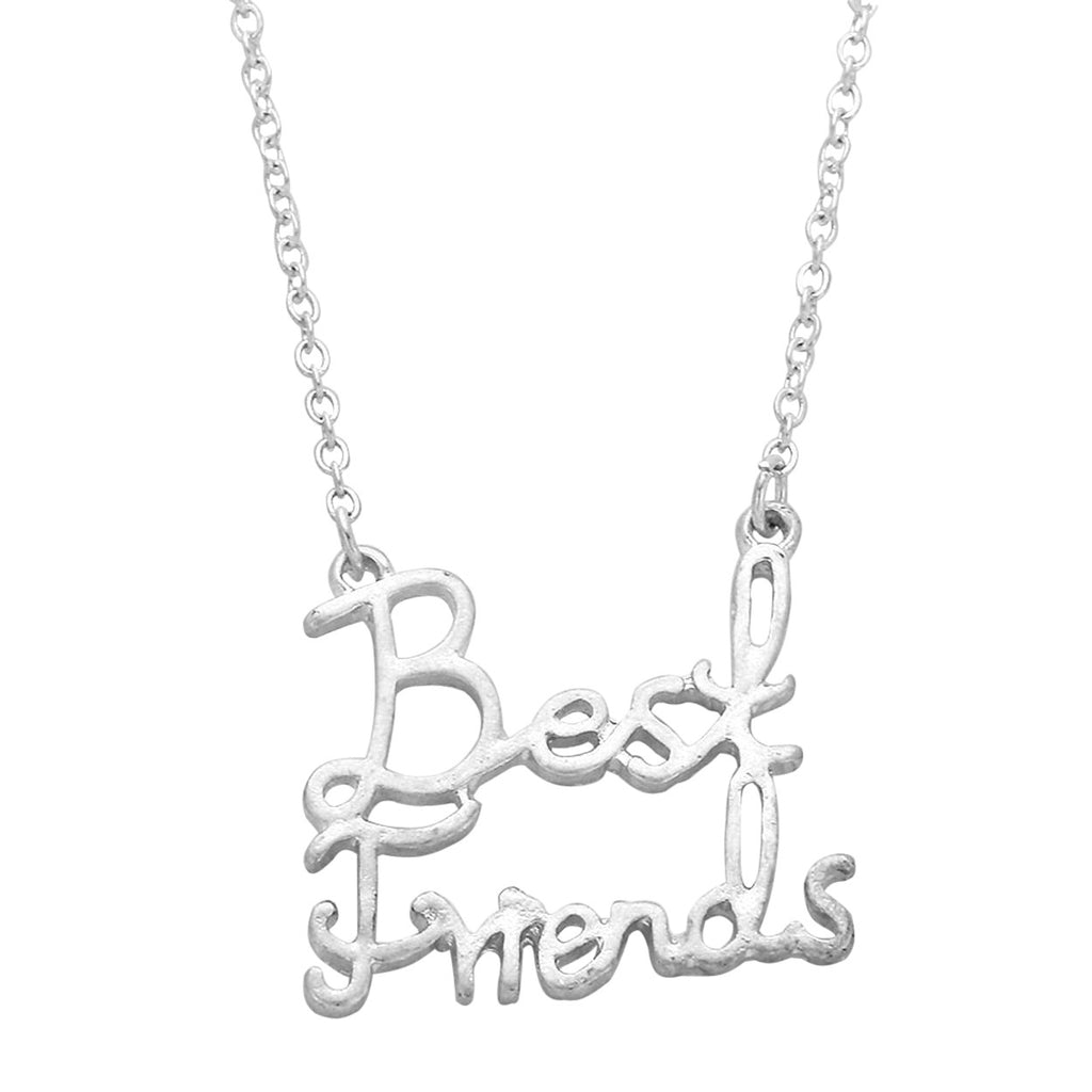 Best Friends Script Pendant Friendship Necklace Silver Tone