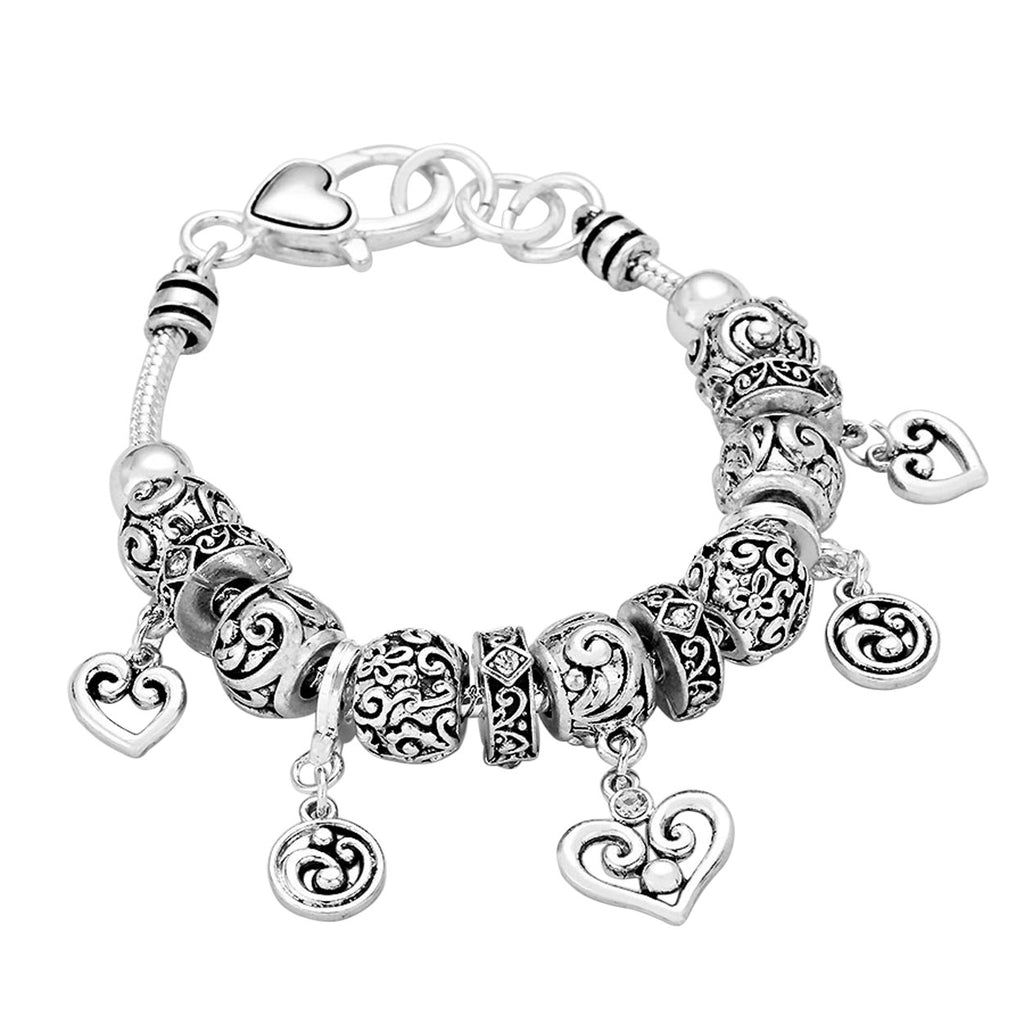 Antique Silver Filigree Heart Charm Bracelet with Crystal Accents