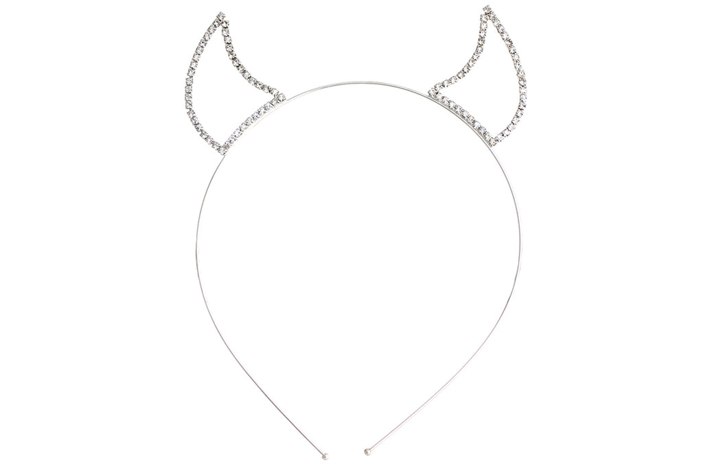 Rhinestone Devil Horns Tiara Headband