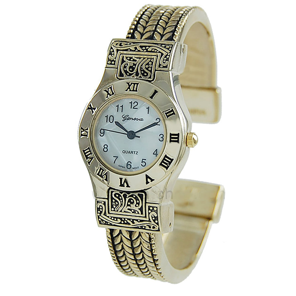 Stylish Mother of Pearl Rope Bracelet Open Cuff Bangle Watch