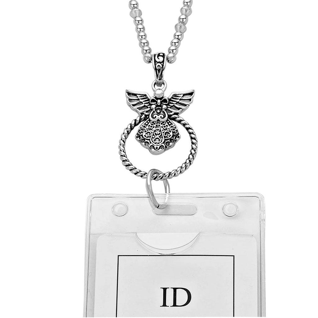 Angel Pendant Employee Badge Clip Necklace Religious Gift