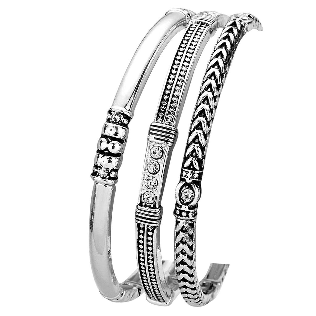 3 Layered Stretchable Bangle Bracelet Set Silver Tone with Rhinestone Accents