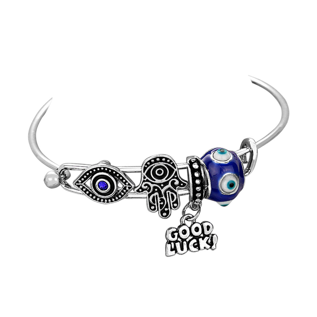 Good Luck Hamsa Evil Eye Charm Wire Bangle Bracelet Silver and Blue