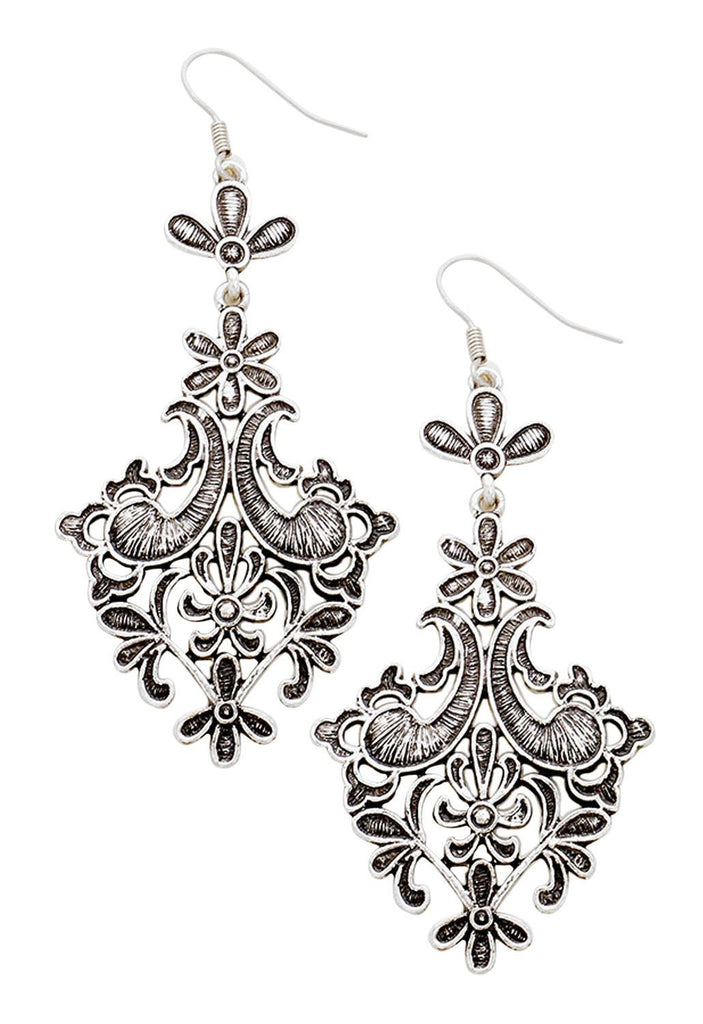 Antique Style Filigree Statement Dangle Earrings