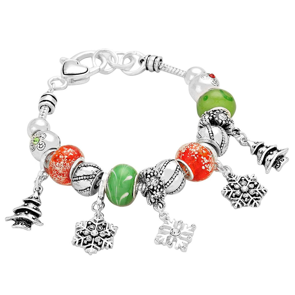 Christmas Tree Snowflake Red and Green Dangle Bead Adjustable Charm Bracelet