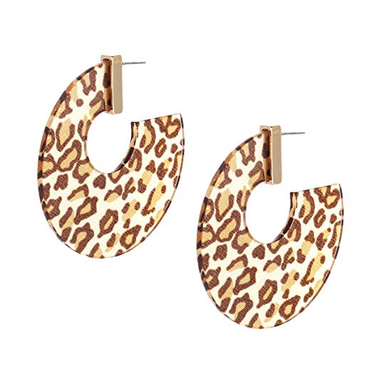Leopard Print Lucite Large Hoop Dangle Post Earrings