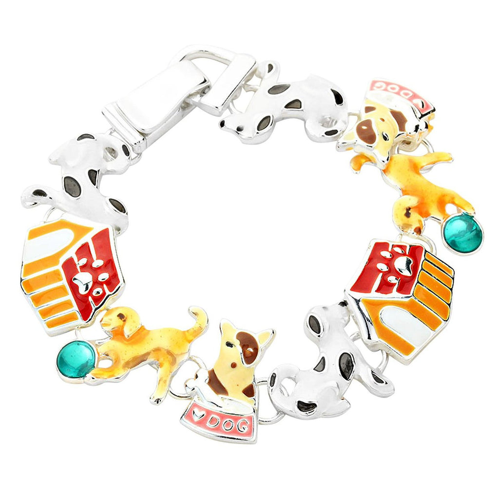 I Love Dogs Playful Dog Bracelet with Magnetic Closure