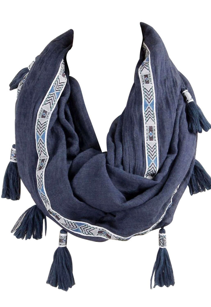 Infinity Scarf Navy Blue Aztec and Tassel Design