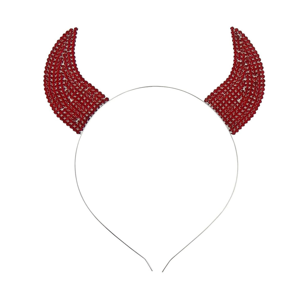 Red Rhinestone Devil Horns Tiara Headband