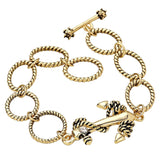 Gold Color Anchor Charm Toggle Bracelet