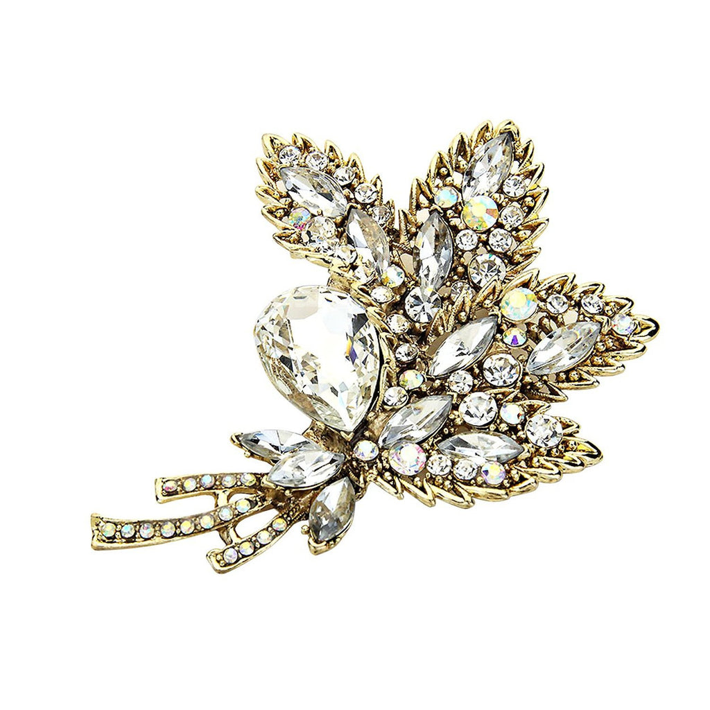 Pave Crystal Flower Posy Brooch Pin Antique Gold Color with Clear Rhinestones