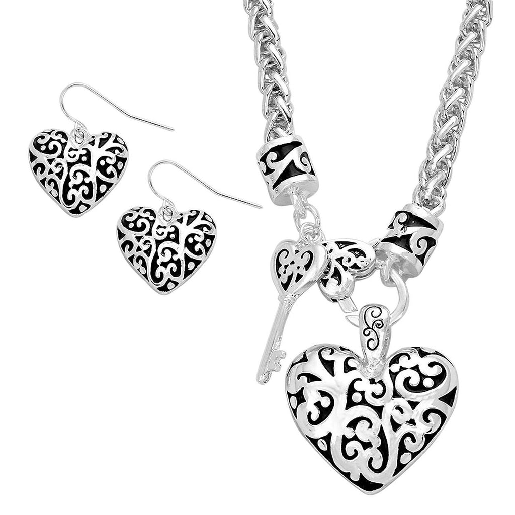 Filigree Key to My Heart Necklace and Earring Set