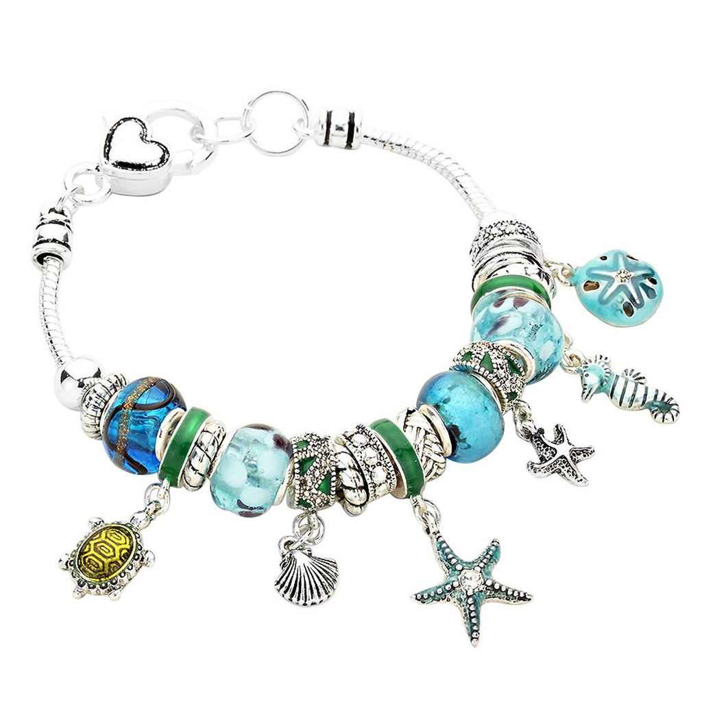 Pandora Style Nautical Beach Charm Bracelet - Blue